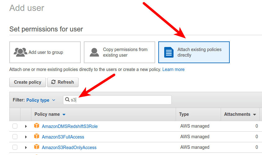 Attach existing AWS policy directly